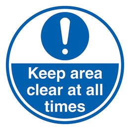 Keep Area Clear At All Times - Temporary Floor Sticker
