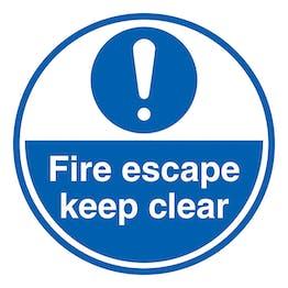 Fire Escape - Keep Clear - Temporary Floor Sticker