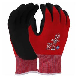 UCI Adept Red Anti-Viral Nitrile Palm Coated Gloves