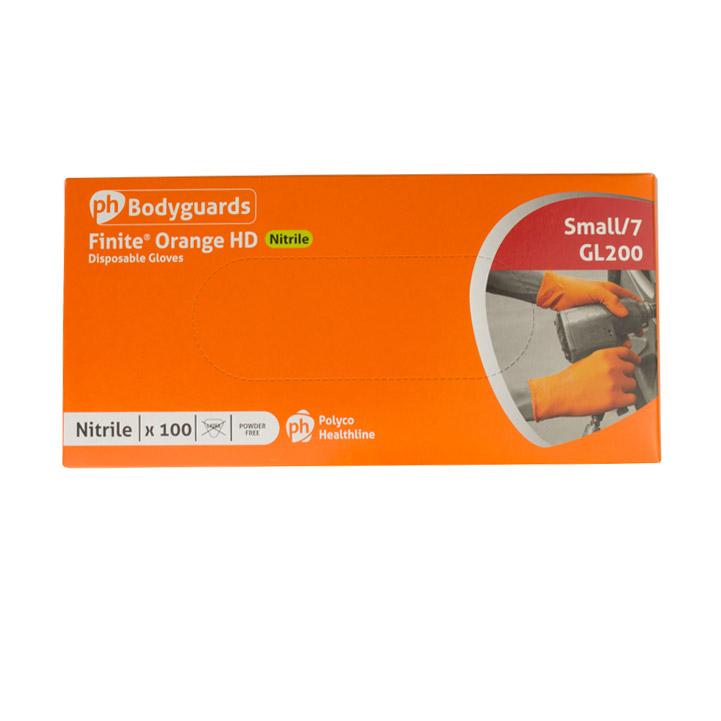 Polyco Orange Finite HD Powder Free Nitrile Gloves