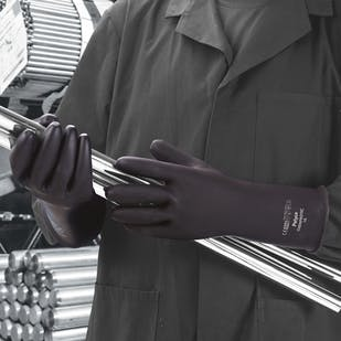 Chemprotec™ Unlined Black Rubber Gloves