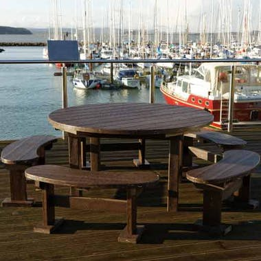 Captains Table and Curved Benches Set