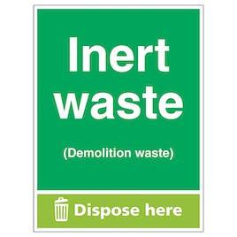 Inert Waste (Demolition Waste) Dispose Here - Portrait