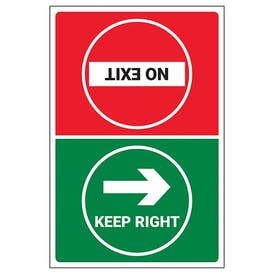 Keep Right/No Exit Temporary Floor Sticker