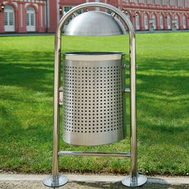 Hooped Stainless Steel Litter Bin