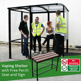 4-Sided Value Vaping Shelter - Clear Roof