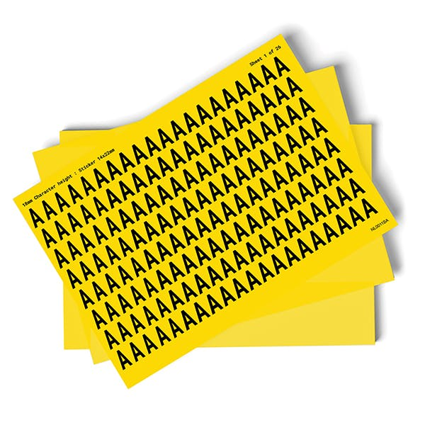 Yellow A-Z Letter Packs - 18mm Character Height