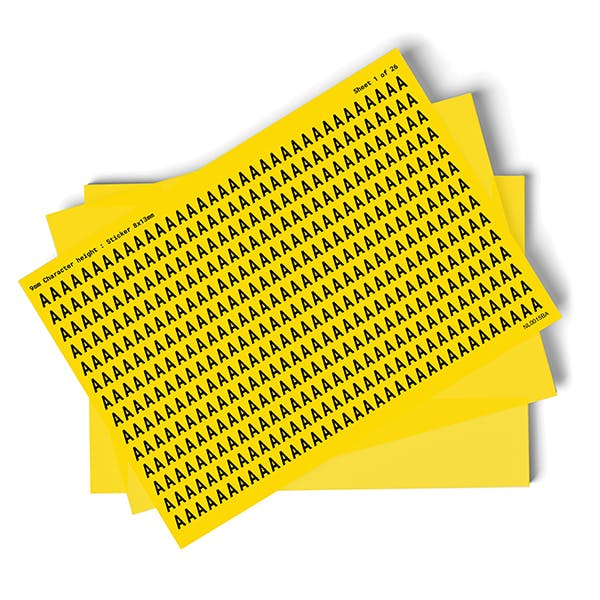 Yellow A-Z Letter Packs - 9mm Character Height