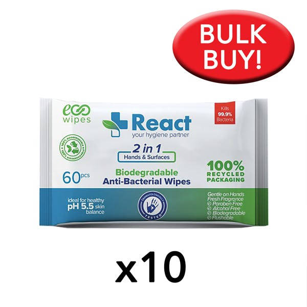 React Biodegradable Hand & Surface Wipes Bulk Buy