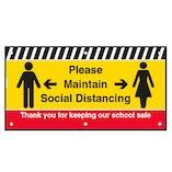 Please Maintain Social Distancing School Banner