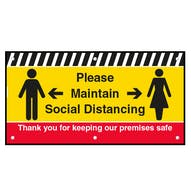 Please Maintain Social Distancing On Our Premises Banner