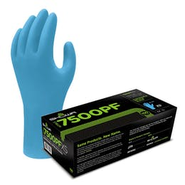 Showa 7500PF Blue Biodegradable Nitrile Gloves