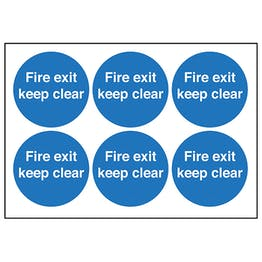 Fire Exit Keep Clear Vinyl Labels On A Sheet