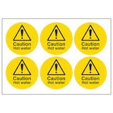 Caution Hot Water Vinyl Labels On A Sheet