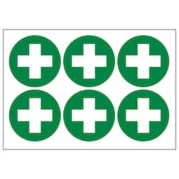 First Aid Cross Vinyl Labels On A Sheet