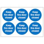 Fire Door Keep Closed Vinyl Labels On A Sheet