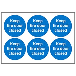 Fire Door Keep Closed Vinyl Labels On A Sheet