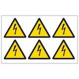 Electrical Hazard Vinyl Labels On A Sheet