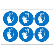 Hand Protection Vinyl Labels On A Sheet