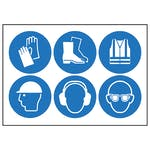 6 Mixed PPE Vinyl Labels On A Sheet