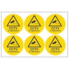 CCTV In Operation Vinyl Labels On A Sheet