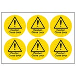 Caution Glass Door Vinyl Labels On A Sheet