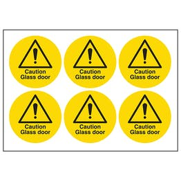 Caution Glass Door Vinyl Labels On A Sheet