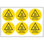 Caution Hot Surface Vinyl Labels On A Sheet