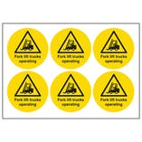 Fork Lift Trucks Operating Vinyl Labels On A Sheet