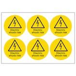 Electric Shock Risk Vinyl Labels On A Sheet