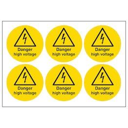 Danger High Voltage Vinyl Labels On A Sheet