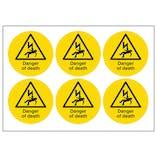 Danger Of Death Vinyl Labels On A Sheet