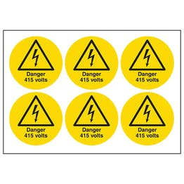 Danger 415 Volts Vinyl Labels On A Sheet