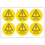 Danger 400 Volts Vinyl Labels On A Sheet