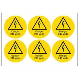 Danger 240 Volts Vinyl Labels On A Sheet