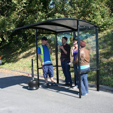 Steel Half-Frame Open Front Smoking Shelter -  Clear Roof