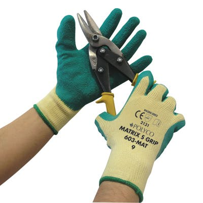 Polyco Green Matrix S Latex Gripper Gloves