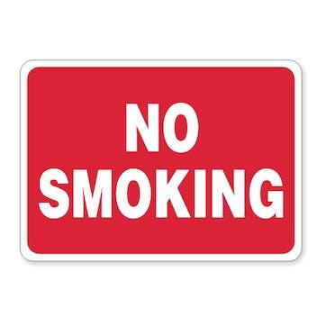 No Smoking (white text on red)