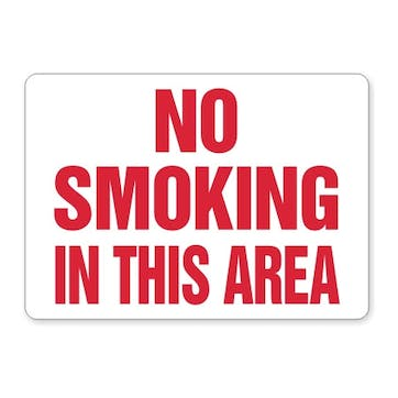 No Smoking In This Area (red text)