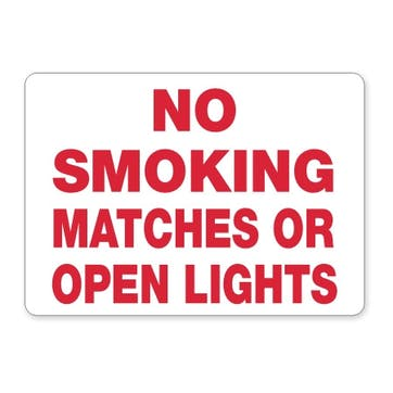 No Smoking Matches Or Open Lights (red text)