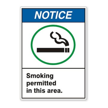 Notice: Smoking Permitted In This Area (ANSI style)