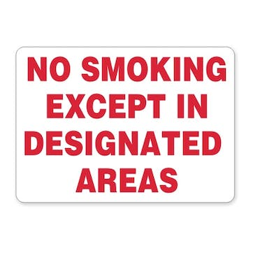 No Smoking Except In Designated Areas (red text)