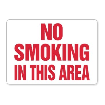 No Smoking This Area (red text)