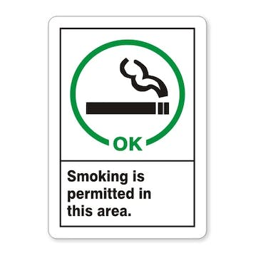 Smoking Permitted In This Area (with symbol) - vertical