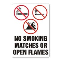 No Smoking Matches Or Open Flames W/Graphic