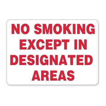 No Smoking Except In Designated Areas