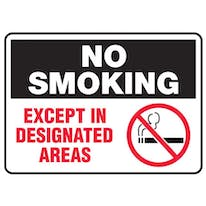 No Smoking Except In Designated Areas W/Graphic