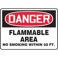 Danger: Flammable Area No Smoking within 50 ft.