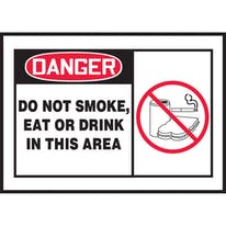 Do Not Smoke Eat or Drink In This Area W/Graphic