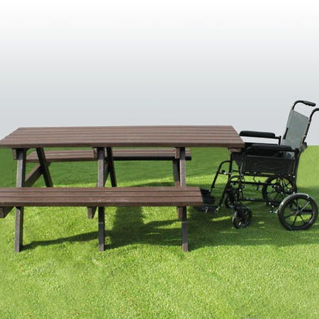 Wheelchair Access Picnic Table - Extended Top